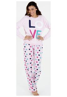 Pijama Feminino Manga Longa Soft Estampa Corações Marisa
