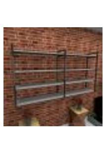 Estante Estilo Industrial Sala Aço Cor Preto 180X30X98Cm (C)X(L)X(A) Cor Mdf Cinza Modelo Ind55Csl