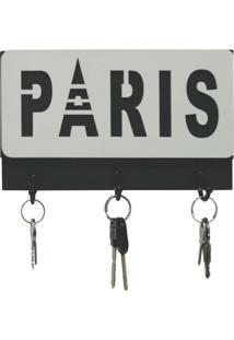 Porta Chave Paris 13X22Cm Preto, Branco Kapos