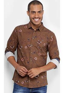 Camisa Colcci Slim Estampada Masculina - Masculino-Marrom
