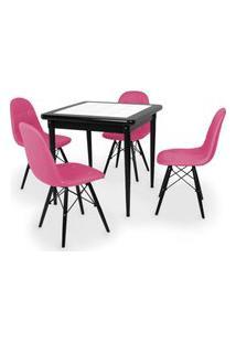 Conjunto Mesa De Jantar Em Madeira Preto Prime Com Azulejo + 4 Cadeiras Botonê - Rosa