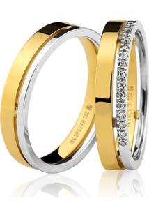 Aliança Lisa Em Ouro 18K Anatômica Com Detalhe Em Ouro Branco E Diamantes