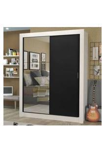 Guarda-Roupa Solteiro Madesa Dallas Plus 2 Portas De Correr Com Espelho 4 Gavetas Branco/Preto Branco
