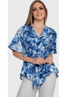 Blusa Carbella Carla Tie Dye Renda Manga Godê Com Cinto Transpassada Confort Estampada Azul/Branco