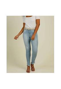 Calça Jeans Feminina Skinny Puídos Barra Desfiada
