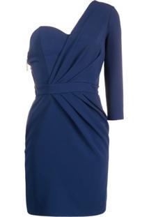 Elisabetta Franchi Vestido Ombro Único Assimétrico - Azul