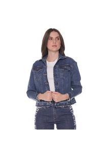 Jaqueta Jeans Denuncia Com Estampa 214323195 Azul
