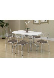 Mesa 1507 Branca Cromada Com 6 Cadeiras 1700 Camurça Conhaque Carraro