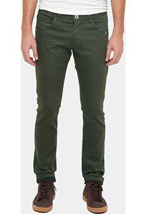 Calça Skinny Rock & Soda Sarja Color Militar Masculina - Masculino