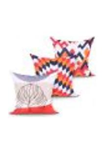 Jogo De Capa De Almofada Para Quarto Laranja Estampada Decorativa Kit Com 3 Unidades 45Cm X 45Cm Com Zíper