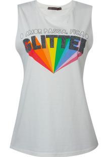Blusa Bobô Glitter Malha Algodão Off White Feminina (Off White, M)