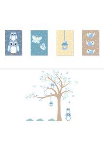 Adesivo De Parede Quartinhos Árvore Coruja Baby Azul E Placas Decorativas