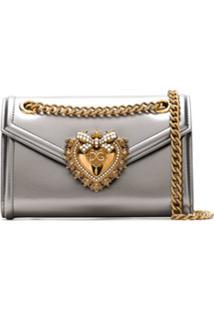 Dolce & Gabbana Bolsa De Couro Acetinada - Prateado