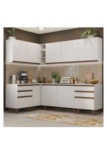 Cozinha Completa De Canto Madesa Reims 382002 Com Armário E Balcão Branco Cor:Branco