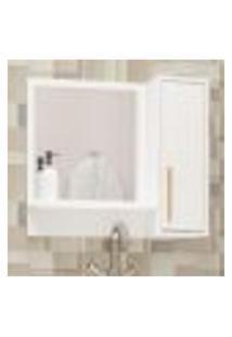 Armário Aéreo Para Banheiro C/ Espelho 1 Porta 1 Prateleira Brv Móveis Branco