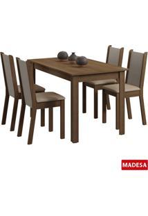 Conjunto De Mesa Madesa Esther C 4 Cadeiras Rustico Perola Se