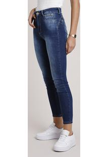 Calça Jeans Feminina Sawary Super Skinny Heart Cintura Alta Com Ilhós Azul Escuro