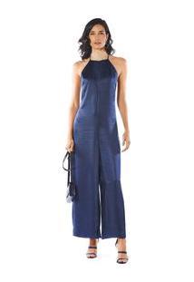 Macacao Pantalona Com Amarracao Azul