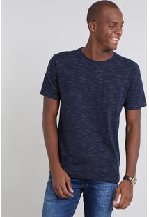 Camiseta Masculina Em Piquet Flamê Com Bolso Manga Curta Azul Marinho