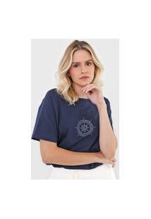 Camiseta Scene Aplicações Azul-Marinho