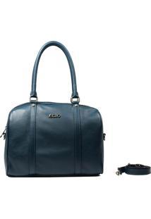 Bolsa Em Couro Recuo Fashion Bag Baú Verde Oceano
