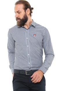 Camisa Mr Kitsch Reta Listrada Preta/Azul