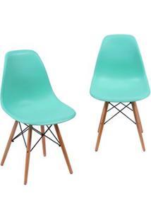 Kit 02 Cadeiras Eiffel Charles Eames Azul Tiffany F01 Com Base De Made
