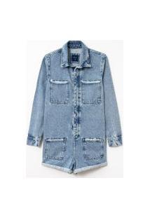 Macacão Jeans Liso Com Puídos | Blue Steel | Azul | P