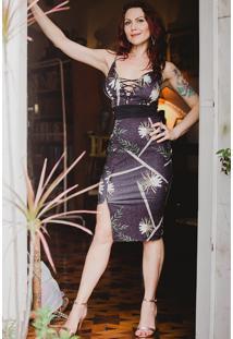 ecf50bb222 Style.Me. Vestido Trico Drapeado Tubinho Estampado Midi Floral Trançado ...