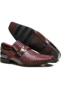 Sapato Social Couro Calvest Textura E Costura Manual Masculino - Masculino-Bordô