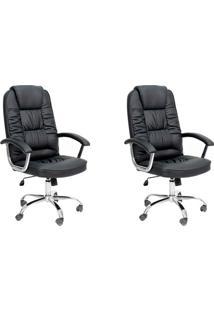 Conjunto Com 2 Cadeiras De Escritório Presidente Giratórias Finland Preto