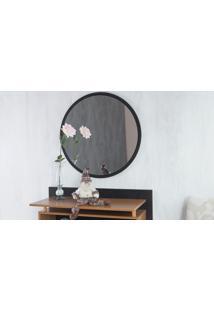 Espelho Redondo De Parede Preto Para Quarto Diâmetro 50Cm - Paul