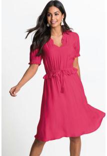 Vestido Com Babados E Amarração Rosa Pink