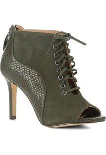 Ankle Boot Couro Shoestock Salto Fino Snake Feminina - Feminino-Musgo