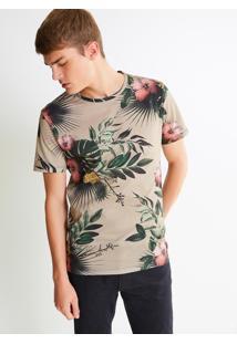 Camiseta Bege Estampada
