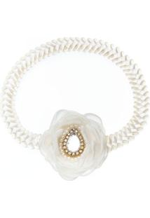 Faixa De Cabelo Trançada Flor Pedraria & Strass Marfim - Roana 642-I Faixa De Cabelo Trançada Flor Pérolas Marfim