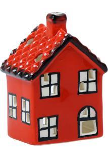 Porta Vela Kasa Ideia De Cerâmica Vermelho Casinha