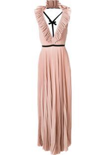 Rochas Vestido De Seda Plissado - Rosa
