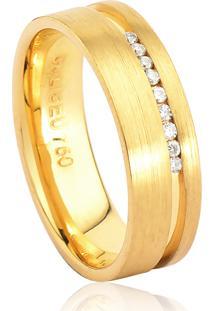 Aliança De Ouro 18K Anatômica Com Friso Polido E Diamante (5,90Mm)