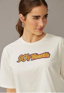 T-Shirt Amaro Cropped 90'S Youth Off-White - Branco - Feminino - Dafiti