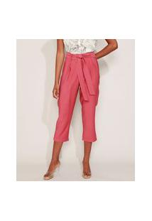 Calça Feminina Carrot Cintura Alta Com Faixa Rosa Escuro