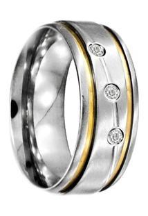 Aliança De Aço C/ Zircônia E Filete De Ouro (Unidade)-33 - Unissex