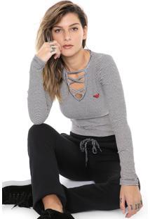 Camiseta Roxy Choker Like Pop Off-White/Preta - Kanui