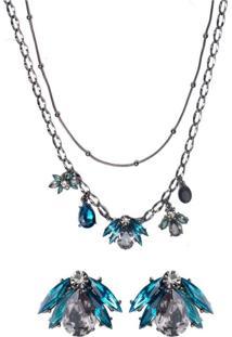 Conjunto Colar E Brinco Armazem Rr Bijoux Cristal Azul Grafite