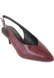 Scarpin Chanel Cobra Emporionaka Baixo Feminino - Feminino-Vermelho