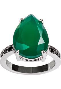Anel Gota The Ring Boutique Pedra Cristal Verde Esmeralda Ródio Ouro Branco