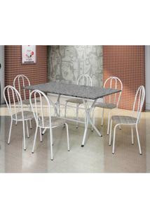 Conjunto De Mesa Com 6 Cadeiras Bruna Branco E Estampa Rattan Ii