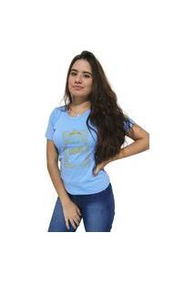 Camiseta Feminina Cellos Retro Frame Premium Azul Claro