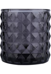 Castiçal Geométrico Em Relevo- Cinza Escuro- 7,5Xø7Curban