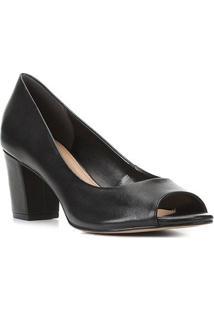 Peep Toe Couro Shoestock Salto Médio - Feminino-Preto